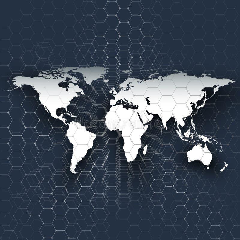 白色世界地图、连接线和小点在蓝色颜色背景 化学样式,六角分子结构 皇族释放例证