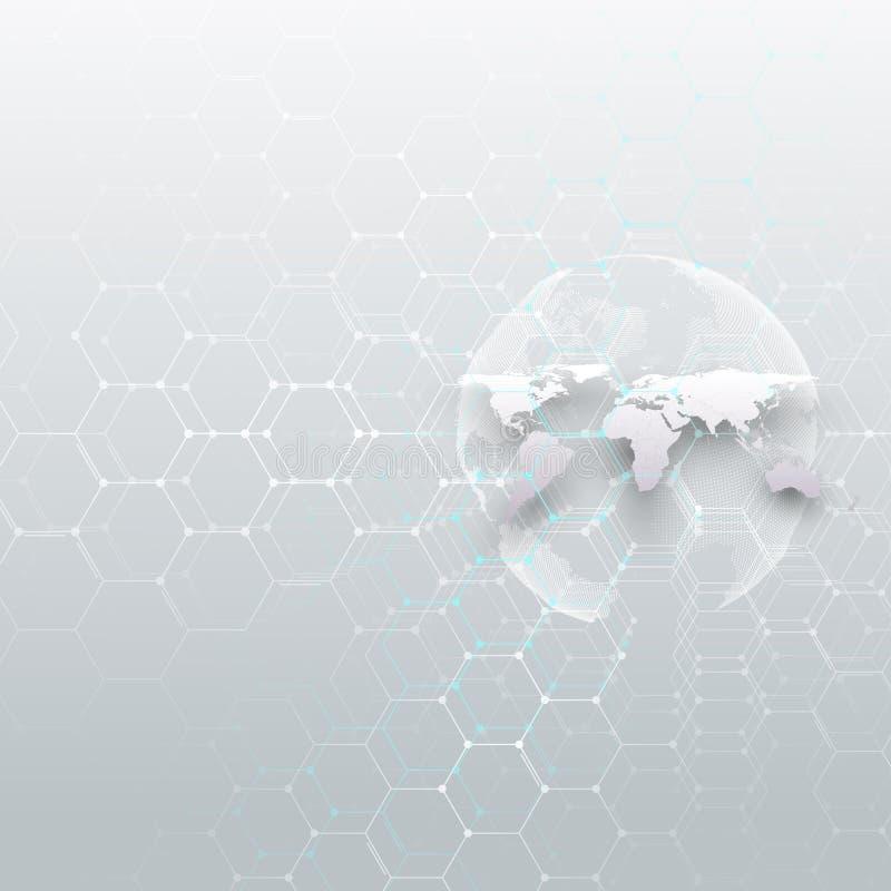白色世界地球、连接线和小点,灰色颜色背景 化学样式,六角分子结构 皇族释放例证