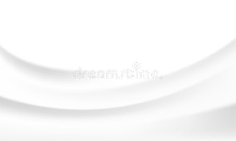 白色丝绸缎背景光滑的纹理传染媒介牛奶波浪背景 库存例证