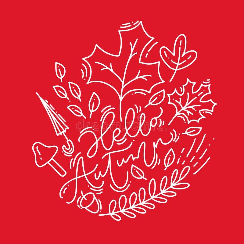 白色书法字法发短信给你好在红色背景的秋天 叶子monoline与叶子的框架花圈,橡子,伞和 库存例证