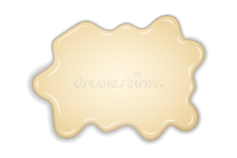 白色乳脂状的融解巧克力被隔绝的白色背景 热的香草牛奶巧克力点心 飞溅奶油色甜液体 向量例证