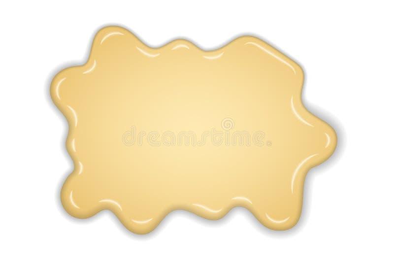 白色乳脂状的融解巧克力被隔绝的白色背景 热的香草牛奶巧克力点心 飞溅奶油色甜液体 皇族释放例证