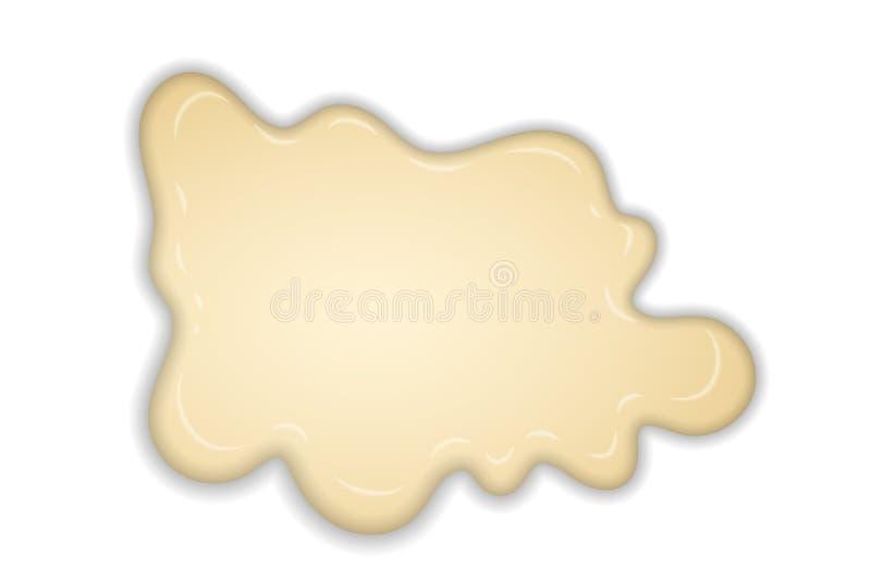 白色乳脂状的融解巧克力被隔绝的白色背景 热的香草牛奶巧克力点心 飞溅奶油色甜液体 库存例证