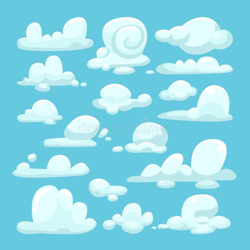 白色云彩动画片集合 皇族释放例证