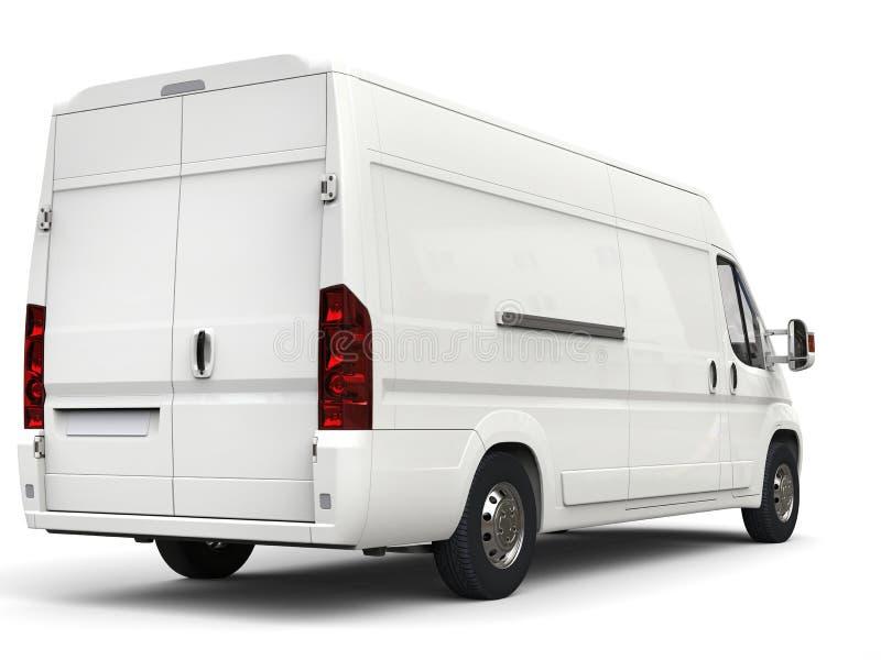 白色交付-移动货车-后面看法 免版税库存照片
