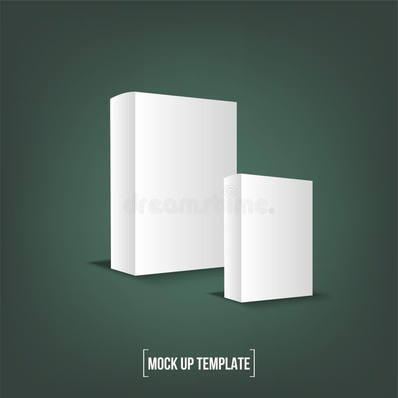 白色产品纸板包裹箱子 模板的嘲笑准备好您的设计 皇族释放例证