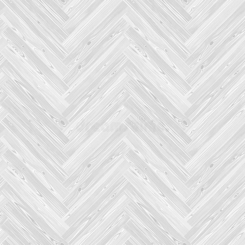 白色人字形木条地板地板无缝的样式 库存例证