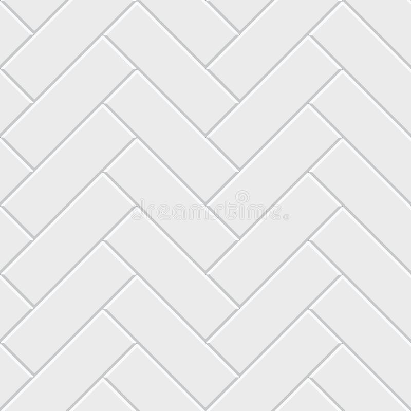 白色人字形木条地板无缝的样式 经典不尽的地板装饰 向量例证