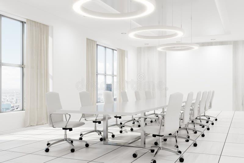 白色会议室内部白色椅子角落 库存例证