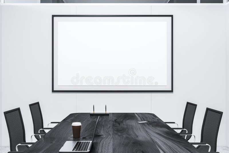 白色会议室内部,海报 皇族释放例证