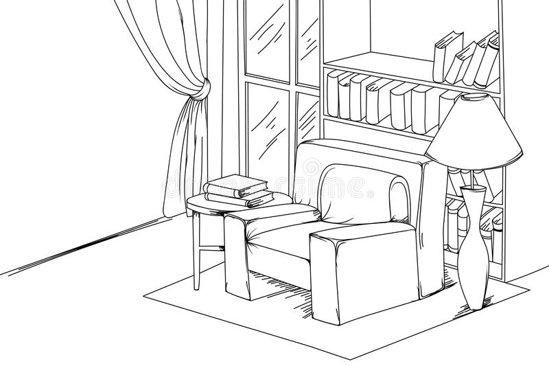 白色传染媒介的议院客厅 库存例证