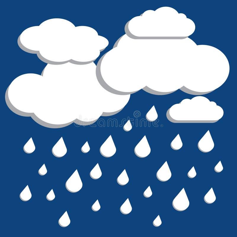 白色传染媒介覆盖与在蓝色背景的降雨 库存例证