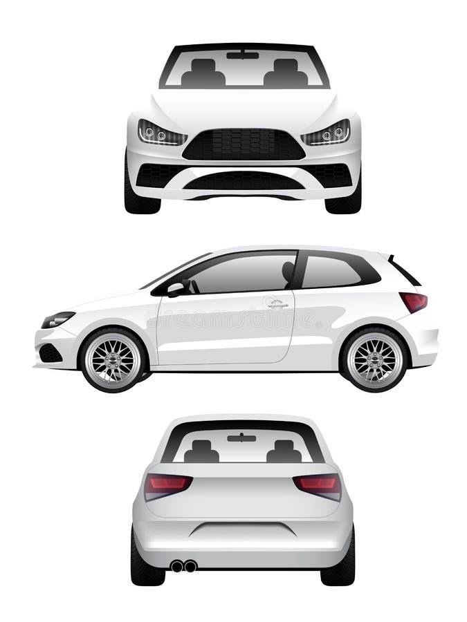 白色体育斜背式的汽车 库存例证