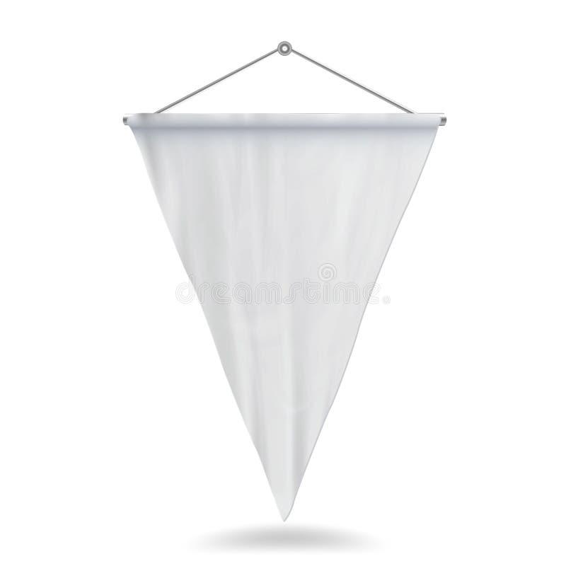 白色信号旗模板传染媒介例证 空的3D信号旗嘲笑 皇族释放例证