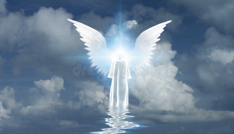 白色修士和天使星 向量例证