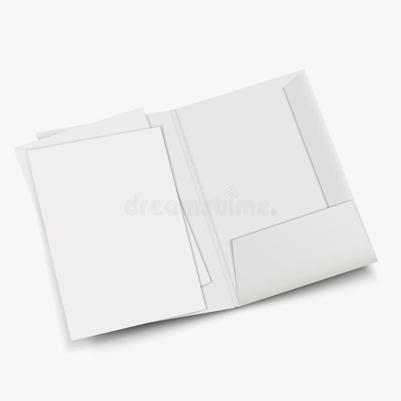 白色倒空开放文件夹模板 库存例证