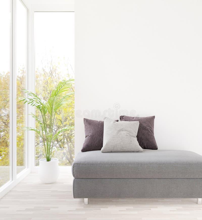 白色假装和拷贝空间的客厅和灰色沙发空的墙壁 皇族释放例证