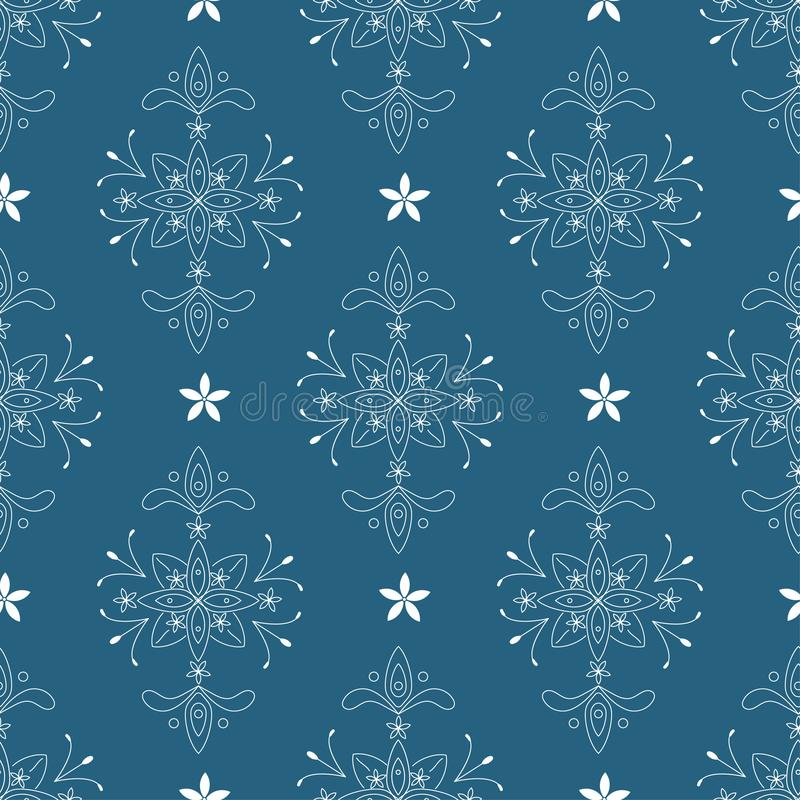 白色元素的传染媒介巴洛克式的无缝的样式在蓝色背景的 皇族释放例证