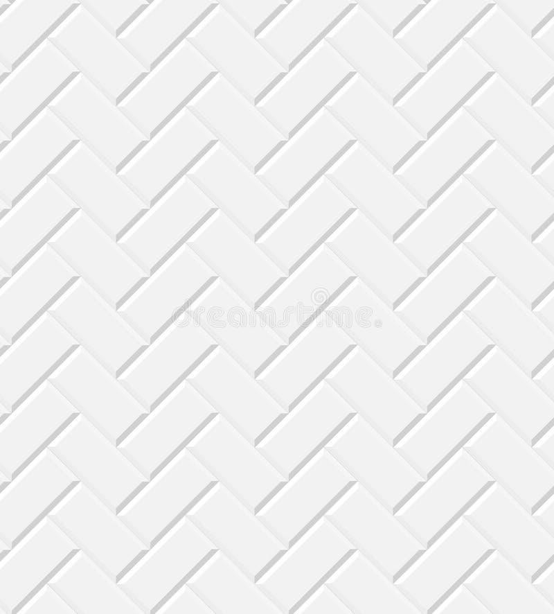 白色光滑的地铁铺磁砖人字形墙壁无缝的样式,传染媒介 库存例证