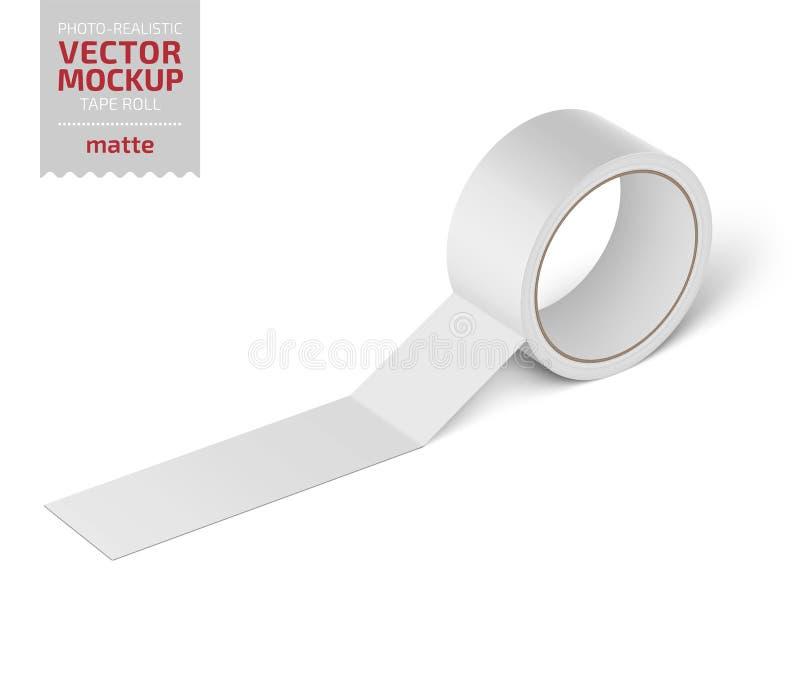 白色光滑的大提琴磁带卷 现实传染媒介 向量例证