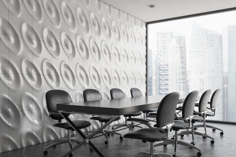 白色全景候选会议地点角落,灰色椅子 向量例证