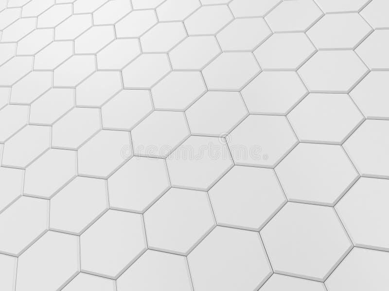 白色六角瓦片 库存例证