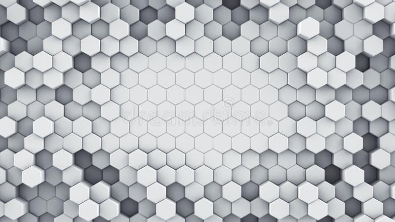 白色六角细胞抽象3D翻译 向量例证