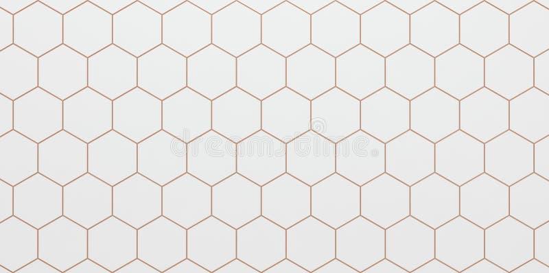 白色六角细胞轻的背景- 3D例证 向量例证
