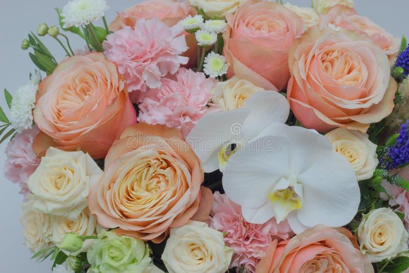 白色兰花兰花植物的混杂的花束关闭 免版税库存照片