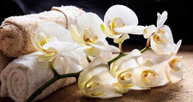 白色兰花和毛巾在桌上 免版税库存图片