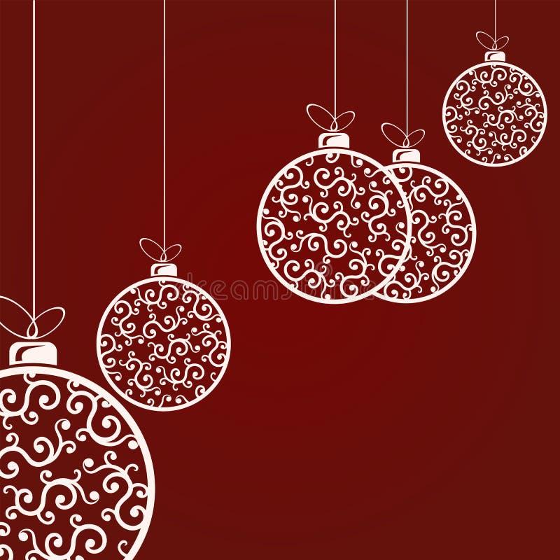 白色典雅的圣诞节球的构成在减速火箭的样式的与样式 库存例证