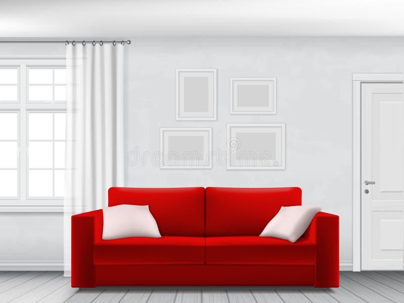 白色内部和红色沙发 库存例证