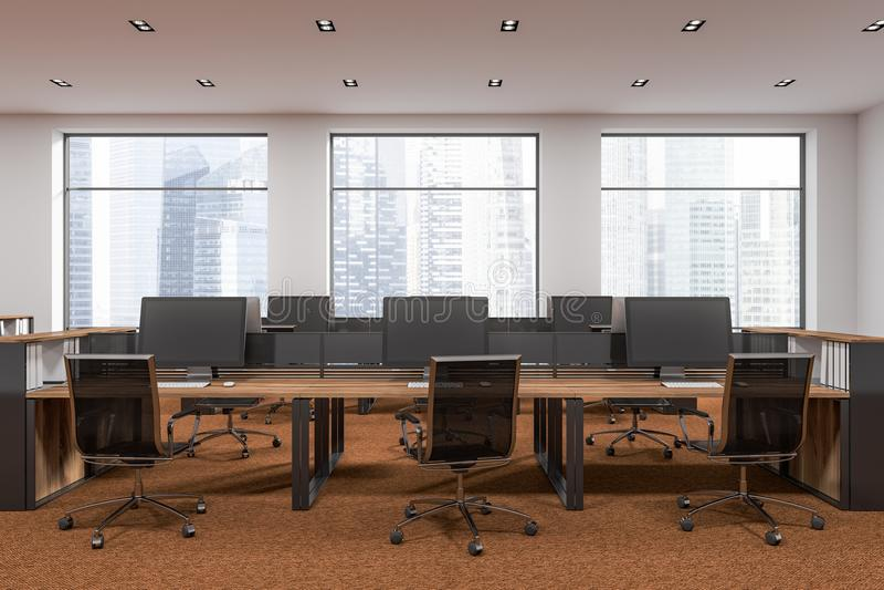 白色内部露天场所的办公室,棕色地板 库存例证