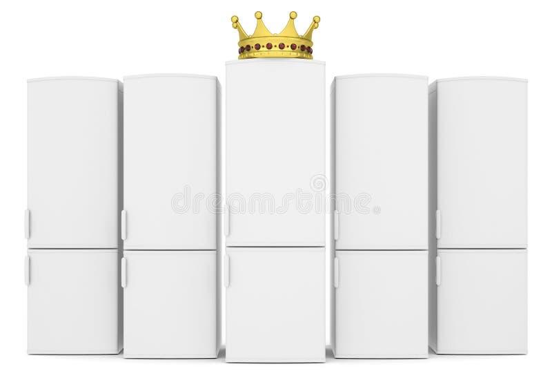 白色冰箱和金冠 库存图片