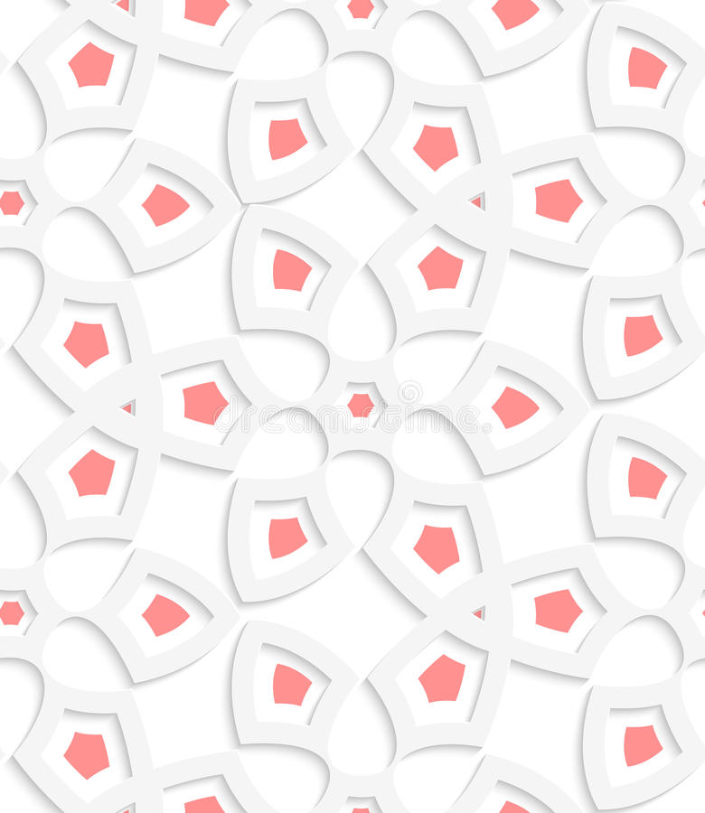 白色几何植物的净无缝的样式 库存例证