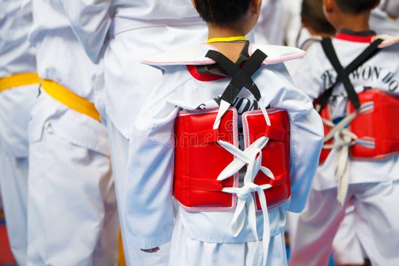 白色制服的跆拳道运动员有装甲的 库存图片