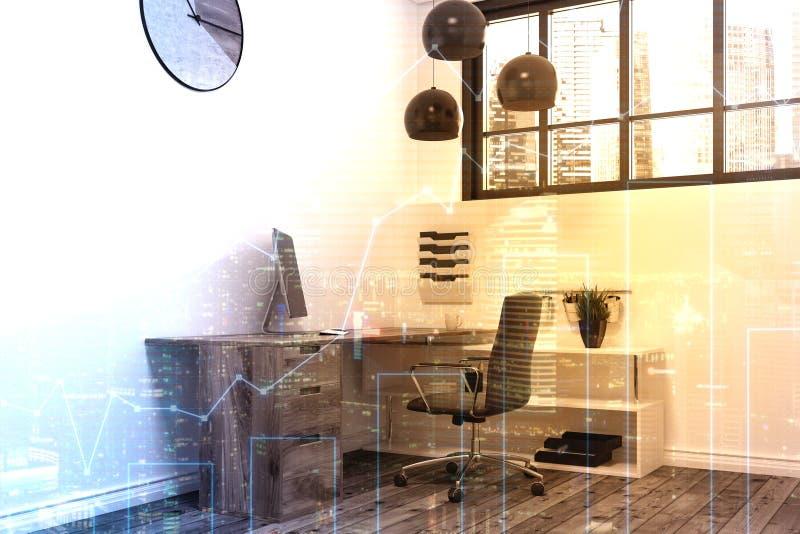 白色办公室工作场所,被定调子的时钟 向量例证