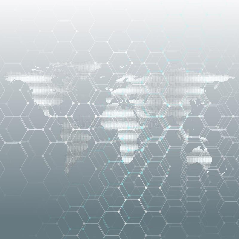 白色加点了世界地图、连接线和小点在灰色颜色背景 化学样式,六角分子 皇族释放例证