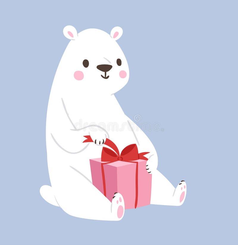 白色北极熊传染媒介动物和礼物盒逗人喜爱的秀丽字符滑稽的样式姿势庆图片