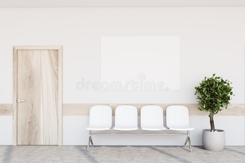 白色医院大厅,海报,树 向量例证