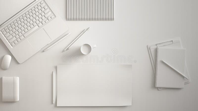 白色单色最小的办公室桌书桌 与膝上型计算机、笔记本、铅笔和咖啡杯的工作区 平的位置,顶视图,空白的pap 向量例证