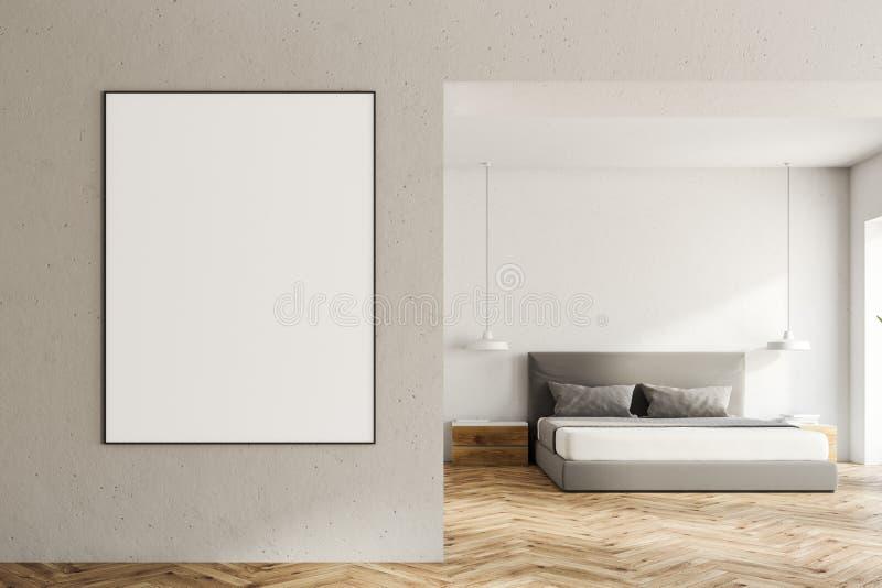 白色卧室内部,在墙壁上的海报 皇族释放例证