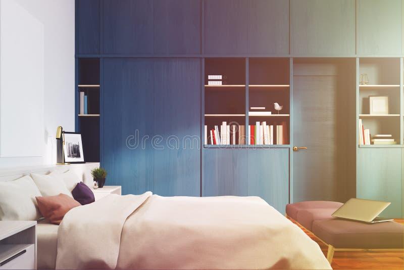 白色卧室,蓝色书橱,支持定调子 向量例证