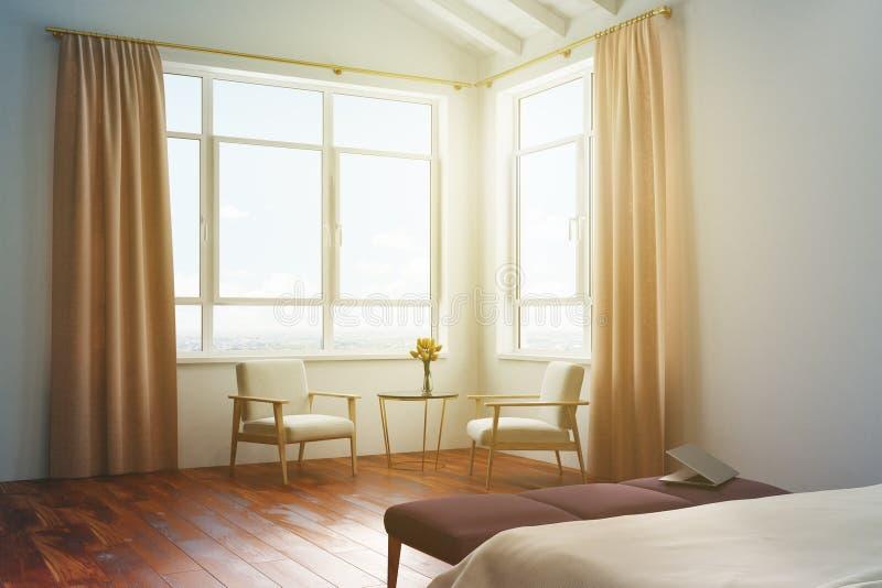 白色卧室,被定调子的桃子帷幕 皇族释放例证