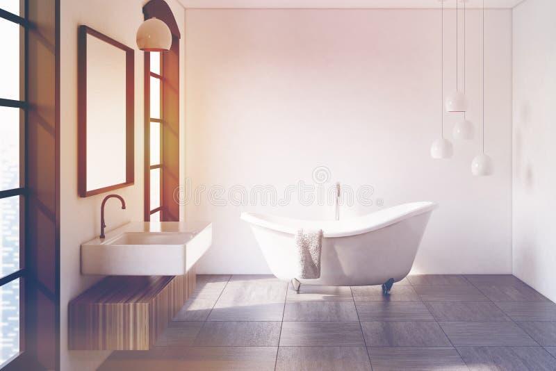 白色卫生间,灯,被定调子 向量例证