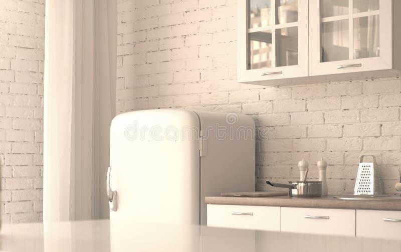 白色厨房的内部 免版税库存图片