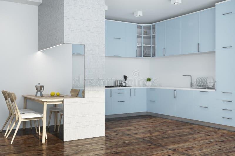 白色厨房角落,蓝色和白色家具 皇族释放例证