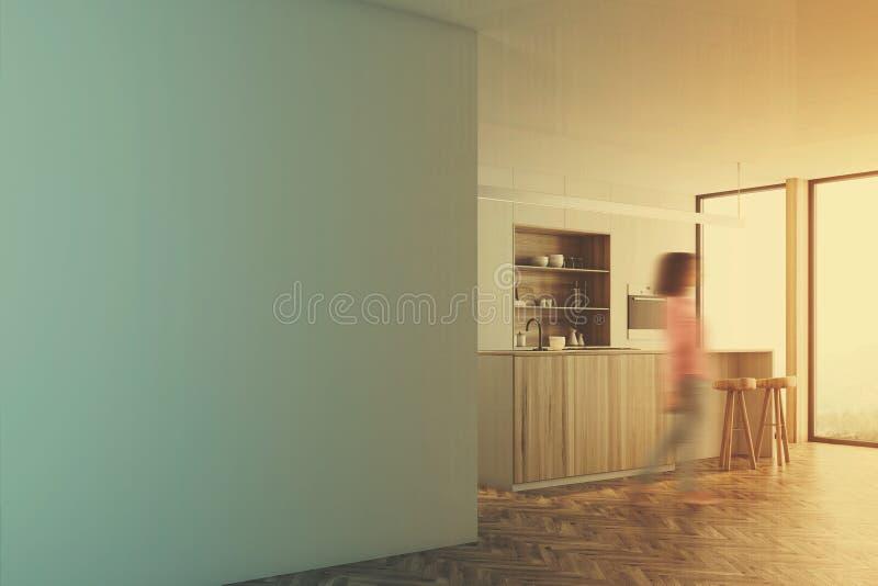 白色厨房,木酒吧立场,被定调子的墙壁 库存例证