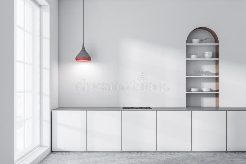 白色厨房,白色柜台 向量例证