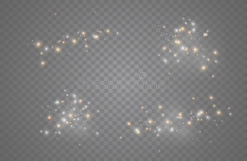 白色发火花和金黄星闪烁特别光线影响 传染媒介在透明背景闪耀 圣诞节 库存例证